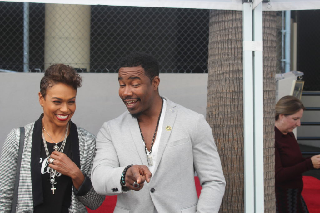 Michael Jai White and his wife at Tyler Perry's Hollywood Walk of Fame ceremony. Photo: Yevette Renee