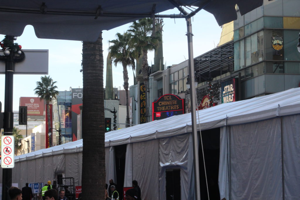 Star Wars: Rise of Skywalker World Premiere tent in front of the Dolby Theatre on Hollwood Boulevard. PHOTO: YEVETTE RENEE